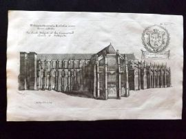 Dugdale & King 1718 Antique Print. South Prospect of Westminster Abbey, London